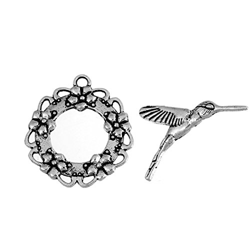 10 Sets Silver Tone Bracelet Toggle Clasps, Hummingbird and Flower - Findings, DIY Crafts, Jewelry -