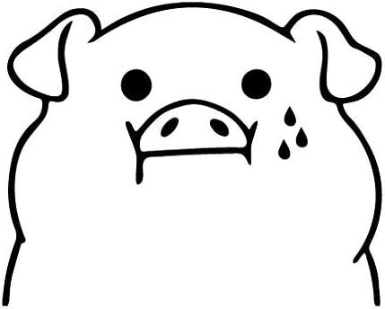 Sticker for Car Helmet 12cm Black leononlinebox Piglet Eat Too Much Vinyl Decal Laptop iPad