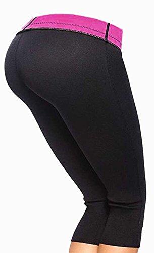 Woman Thermo Sweat Hot Neoprene Body Shaper Slimming Yoga Pants (L, Rose)