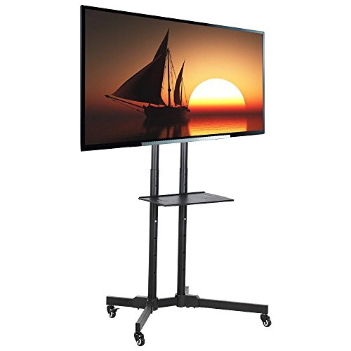 Yaheetech 32 to 65 Inch Universal Flat Screen TV Carts Stand Mobile TV Console Stand with Mount for LED LCD Plasma Flat Panels on Wheels Universal Mobile Cart