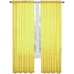GoodGram 2 Pack: Ultra Luxurious High Thread Rod Pocket Sheer Voile Window Curtains Assorted Colors (Yellow)