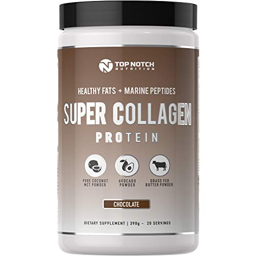 Top Notch Nutrition Super Collagen Protein Powder with Healthy Fat Blend Featuring Avocado Powder MCT Oil Powder Grass Fed Butter Powder Use in Smoothies as Coffee Creamer or in Baking and Recipes (Top Best Protein Supplements)