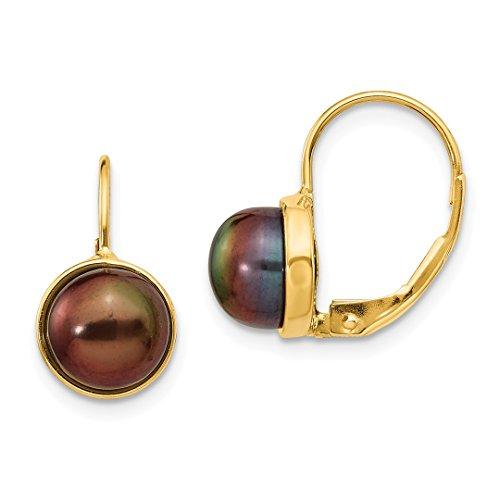 Pearl Culture Earrings (14k Yellow Gold 7mm Black Button Freshwater Cultured Pearl Leverback Earrings Lever Back Drop Dangle Fine Jewelry For Women Gift Set)