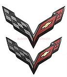 Coolandi CV-C7B C7 Corvette Front & Rear Crossed Flags Emblems Black Carbon Flash Trunk Hood Emblem Badge For Chevy