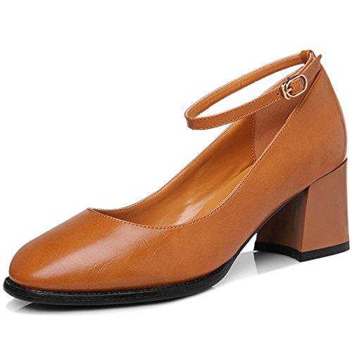 U Chiusi mac Scarpe Punta Marrone A Piedi Strip Tacchi Donne Elegante Grosso Chic Sneakers Fibbia RdXRw