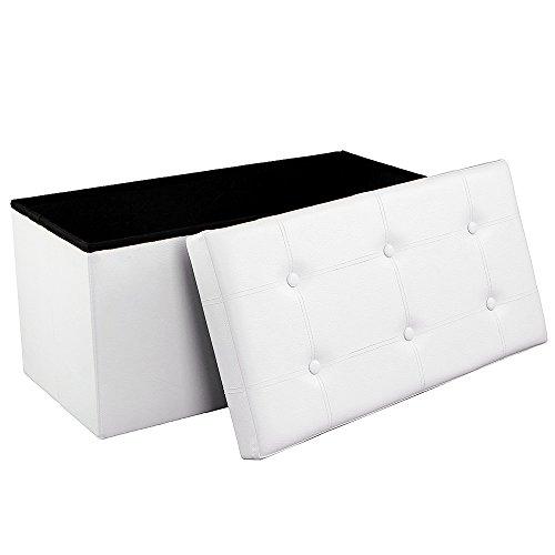 Songmics Sitzhocker Sitzbank mit Stauraum faltbar 2-Sitzer belastbar bis 300 kg kunstleder weiß 76 x 38 x 38 cm LSF106