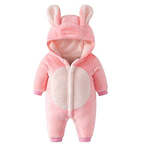 Tomppy Newborn Infant Boy Girls Winter Warm Hoodie Jumpsuit Fleece Rabbit Ear Hooded Snowsuit Kids Thick Outerwear Clothes Pink