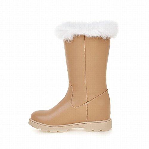 Show Shine Womens Buckles Platform Hidden Heel Snow Boots Apricot likWWhi