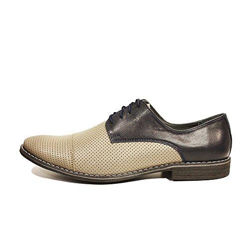 Modello Davide - Cuero Italiano Hecho A Mano Hombre Piel Gris Zapatos Vestir Oxfords - Cuero Cuero repujado - Encaje