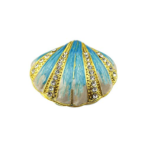 Ring Enamel Accent Blue Diamond (1pc Seashell Enamel Trinket Box Blue Rhinestone Earring Necklace Jewelry Organizer Container Seashell Jewelry Box Blue)