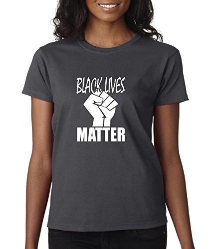 Sanford Charcoal (New Way 505 - Women's T-Shirt Black Lives Matter Fist of Solidarity Medium Charcoal)