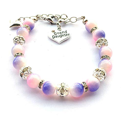 (DOLON Pink with Light Purple Two Tone Simulated Pearls Beaded Charm Bracelet Gift for Granddaughter Jewelry)