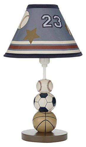 NoJo Play Ball, Lamp and Shade, Navy/Red/Indigo/Ivory/Brown (Lamp Boy Baby Shade)