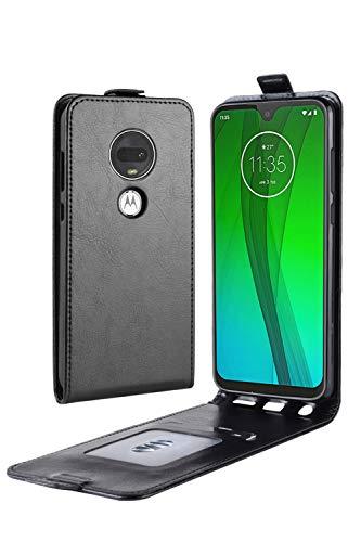 Muntonski Motog7 Case Compatible with Motorola Moto G7 Cover Folio Flip TPU Cases Motor 7g 6.2 Inch (Black) (Motorola Motor E Cover)