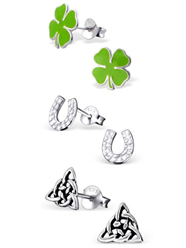 925 Sterling Silver Hypoallergenic Set of 3 Pairs St. Patrick's Day Green Four Leaf Clover, Horseshoe, Celtic Trinity Stud Earrings for Girls and Womens (Nickel Free) 20509