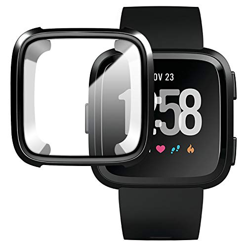 Version Case for Fitbit Versa,Soft TPU Protective Full Cover Shell Bumper Case Protector for Fitbit Versa Smart Watch - Black