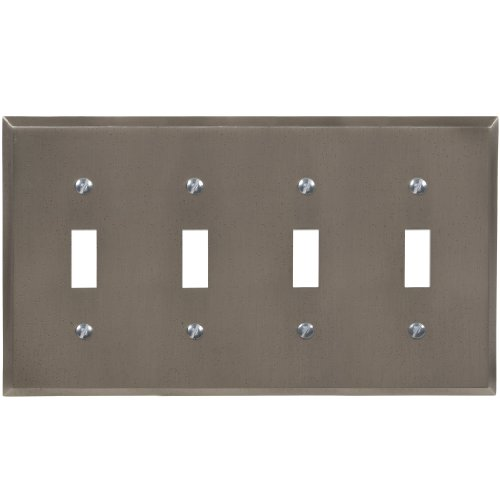 Amerelle 68T4GM Manhattan 4 Toggle Wallplate, Gun Metal Gray