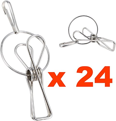 Pro Chef Kitchen Tools Hanger Clips - Laundry Clothes Pins - Metal Hanging Drying Rack Clotheslines Wire Clip Set of 24 - Bag Chip Clips - Travel Post Card Photo Picture Hangers - Binder Paper Clamps