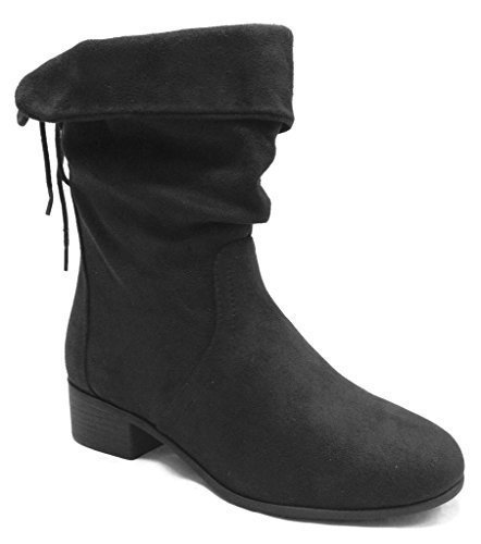 Soda Women's Slouchy Boot Round Toe Foldable Faux Suede, Black, 10