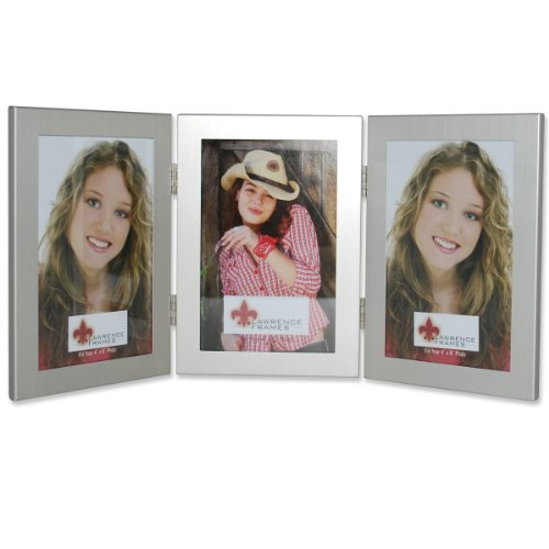 Lawrence Frames Brushed Silver 4 by 6 Hinged Triple Metal Picture Frame