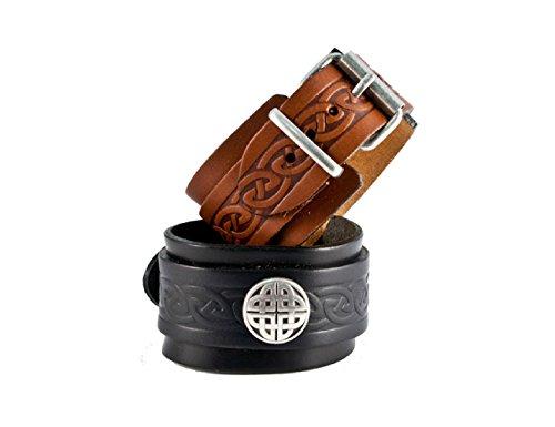 (Biddy Murphy Jewelry Lee River Leather Men's Celtic Leather Bracelet Black Cuff & Buckle Irish Made)