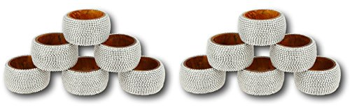 Aluminum Napkin Rings (Handmade Indian Silver Aluminum Ball Chain Wooden Napkin Rings - Set of 12 Rings)