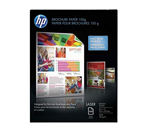 HP Brochure Paper, Glossy, 8.5x11, 150 (Two Sided Glossy Paper)