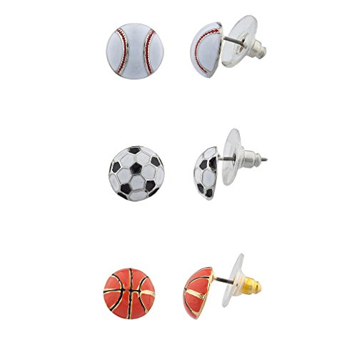 Lux Accessories Sports Ball Multi Earring Set (3pc)