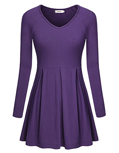 women-teebepei-retro-formal-v-neck-detail-bust-business-shirts-purple-l