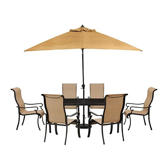 Hanover BRIGDN7PC-GLS-SU-P Brigantine 7 Piece Outdoor Dining Set - Set includes: one rectangular glass-top Dining Table, six sling-back dining chairs, 9 ft. Table umbrella and one umbrella Base Heavy duty rust-resistant Frames: durable all-weather construction with rust-resistant aluminum frames Comfortable seating: heavy duty sling fabric chairs that are comfortable and easy to clean - patio-furniture, dining-sets-patio-funiture, patio - 41%2BhbWjgEZL. SS570  -