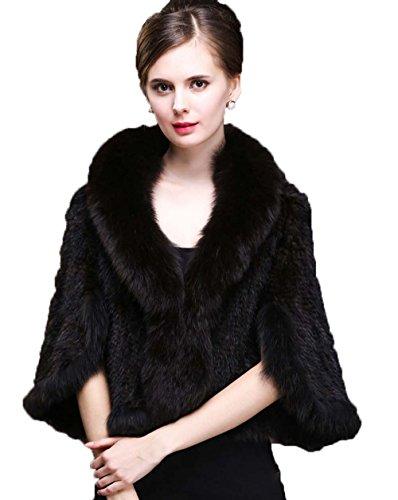 (Women's Elegant Real Mink Fur Cape/Shawl Poncho With Fox Fur Collar)