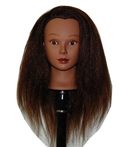 HairZtar Ethnic Afro Coarse 100% Real Hair Mannequin Head Hairdresser Training Head Manikin Cosmetology Doll Head (HAZEL)