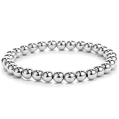 Ourania Stainless Steel Bead Elastic Bracelet Steel Plated Color
