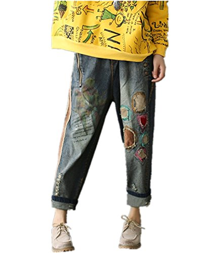 P71 Women Cropped Denim Pants Jeans Trousers 100% Cotton Floral Printed Patchwork (Patchwork Printed)