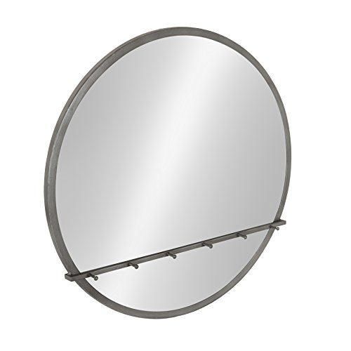 Kate and Laurel - Oravo Round Metal Framed Mirror With Hooks, Pewter -
