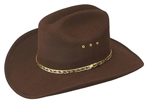 Western Express Men's Faux Felt Woodcock Cowboy Hat with Gold Band Rodeo Cattleman Mexican - Brown Color ADULTS SIZE ( 54 ) -6 3/4