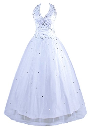 Ball Gown Halter Floor (Zorayi Women's Floor Length Tulle Halter Formal Wedding Dress Prom Ball Gowns White Size 20)