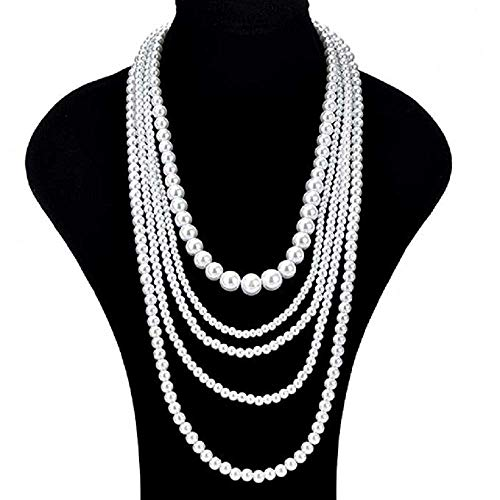(MERSDW Big Pearl Beaded Long Five-Layer Pearl Necklace Sweater Chain Long Style Accessories White Necklace Elegant Bride Korean Gorgeous Princess Necklace Sweater Necklace (White))