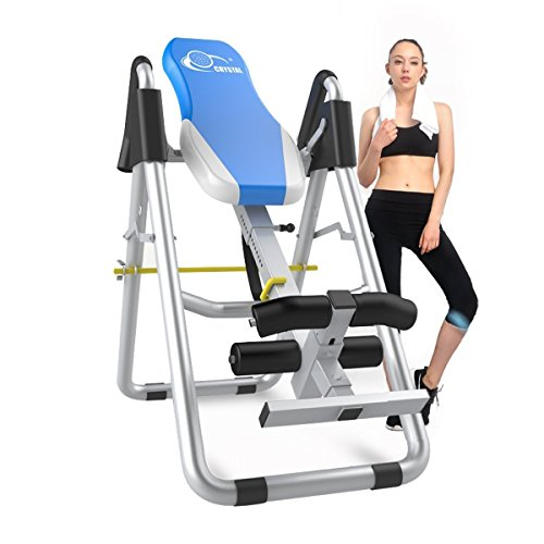XPH Heavy Duty Inversion Therapy Table Inversion Table for Back Pain Adjustable Therapy Folding Fitness Table with Back Pain Relief Gravity Inversion Tables for Home Use Sports Equipment (Blue) by XPH
