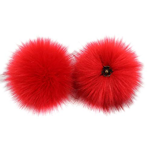 CHBC 15cm DIY Artificial Fluffy Pompom Ball Solid Color with Removable Brooch Pins Buckle for Knitting Hat Shoes Scarves Bag Handbag Charms Ornament (Red)