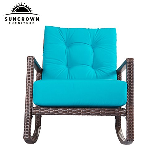 Suncrown outdoor furniture teal patio rocking chair all for Small teal chair