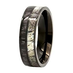 Natural Deer Antler Ring with Black Koa Wood Inlay - Mens Band, Womens Wedding Ring Black Stainless Steel Hunter Ring Band (5)