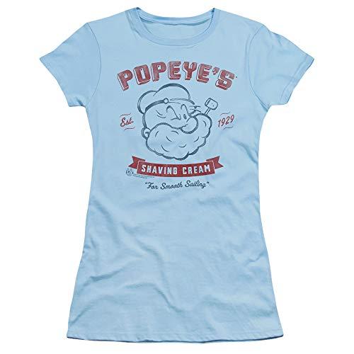Sheer Popeye - Popeye Shaving Cream Juniors' Sheer Fitted T Shirt, Large