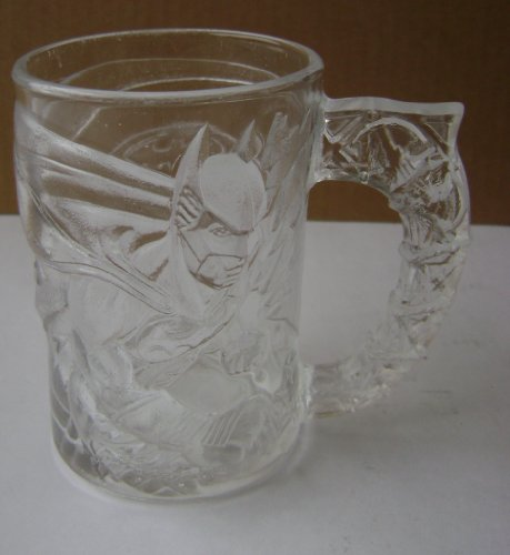 (Collectible Batman Forever Glass Drinking Cup Mug - 4 1/8 inches x 2 7/8 inches - Batman and Gotham City etched in on glass - From McDonalds)