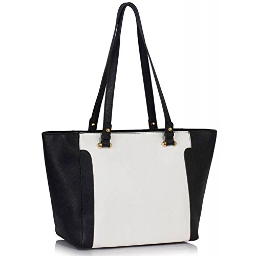 """Xardi London 12""""grandes bolsas de hombro mujer piel sintética Grab bolso trabajo escuela superior señoras bolsa negro/blanco"""