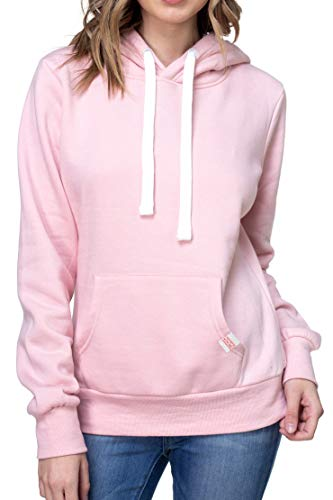 Urban Look Womens Active Long Sleeve Fleece Lined Fashion Hoodie Pullover (Large, A1 Solid Blush Pink)