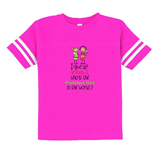 Grandma Who'S Prettiest Girl In World? Toddler Football Jersey T-Shirt Tee Hot Pink (Hot Girl In Football Jersey)