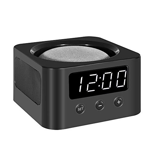 Universal Bedside Clock Stand and Docking Station for Your Smart Speakers - Google Home Mini, Amazon Echo Dot (All Generations), etc. - Black