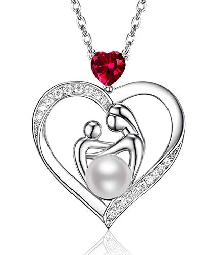 "July Birthstone Red Ruby Necklace Jewelry Sterling Silver Birthday Gifts for Mom White Pearl Love Heart Pendant Anniversary Necklace Gifts for Women Wife Her Mothers and Child Necklace 20"" Chain"