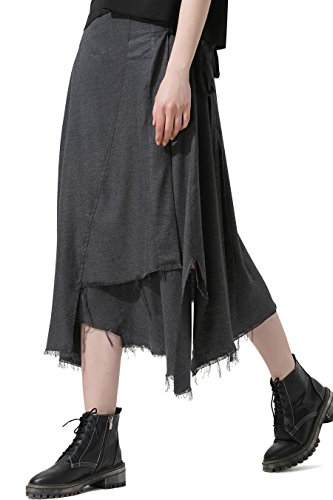 men Elegant Flare Skirt with Pleated Waist & Belt Tie on Side, High-low Hem, Side Split, Soft & Droopy Style, Slit Side Pockets, Leisure Wear - Dark Grey Size L (New Ladies Tie Belt)